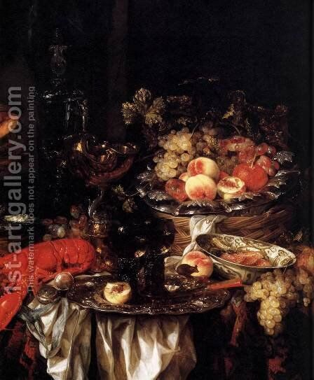 Banquet Still Life with a Mouse (detail) 1667 by Abraham Hendrickz Van Beyeren - Reproduction Oil Painting