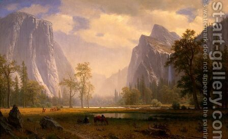 Looking Up The Yosemite Valley 1865 67 by Albert Bierstadt - Reproduction Oil Painting