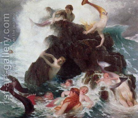 Mermaids at Play 1886 by Arnold Böcklin - Reproduction Oil Painting