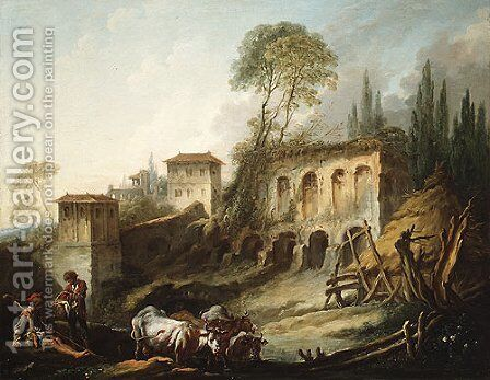 Capriccio View from the Campo Vaccino 1734 by François Boucher - Reproduction Oil Painting