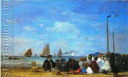 Beach Scene Trouville 1863 by Eugène Boudin - Reproduction Oil Painting
