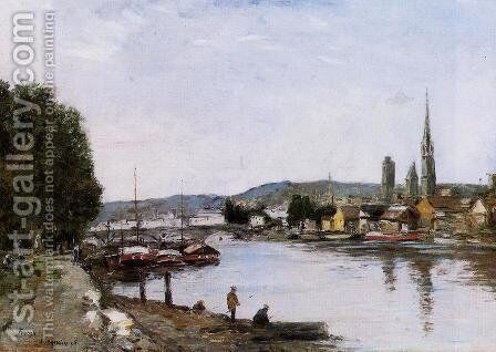 Rouen View over the River Seine 1895 by Eugène Boudin - Reproduction Oil Painting