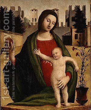 Madonna and Child ca 1520 by (Bartolomeo Suardi) Bramantino - Reproduction Oil Painting