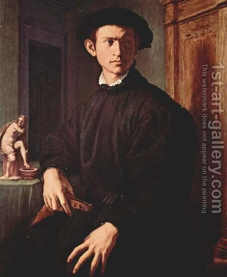 Portrait of a Young Men with A Lute by Agnolo Bronzino - Reproduction Oil Painting