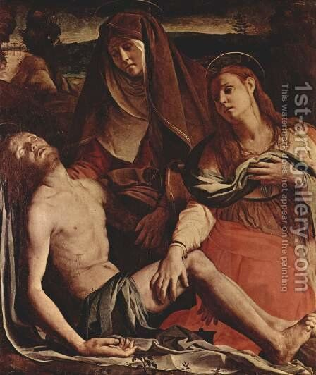 The Dead Christ with the Madonna and Mary Magdalen by Agnolo Bronzino - Reproduction Oil Painting