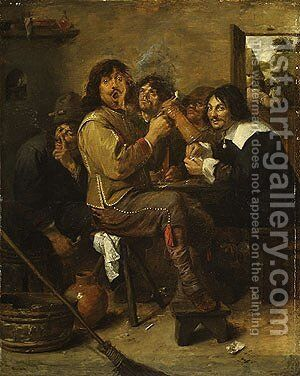 The Smokers probably ca 1636 by Adriaen Brouwer - Reproduction Oil Painting