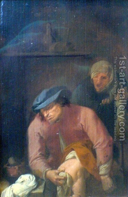 Unpleasant Duties Of A Father by Adriaen Brouwer - Reproduction Oil Painting