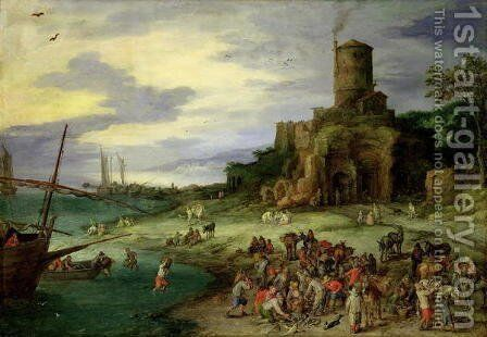 Fishermen on the Shore by Jan The Elder Brueghel - Reproduction Oil Painting