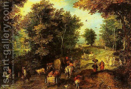 Landscape with a Ford by Jan The Elder Brueghel - Reproduction Oil Painting