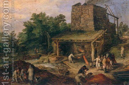 Landscape with a foundry by Jan The Elder Brueghel - Reproduction Oil Painting
