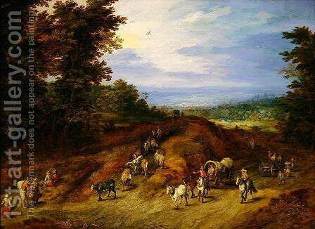 Landscape with peasants carts and animals by Jan The Elder Brueghel - Reproduction Oil Painting