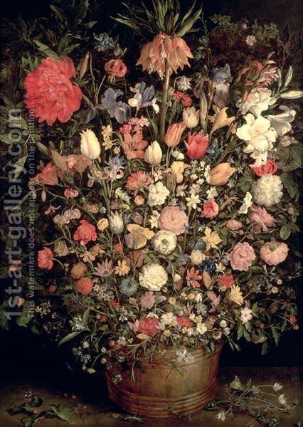 Large bouquet of flowers in a wooden tub 1606 07 by Jan The Elder Brueghel - Reproduction Oil Painting