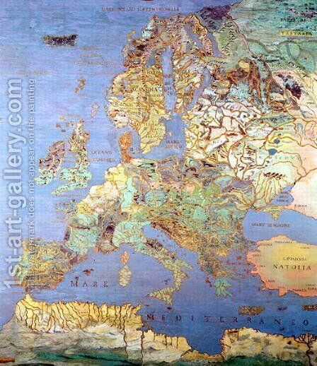 Map of Sixteenth Century Europe from the 'Sala del Mappamondo by Jan The Elder Brueghel - Reproduction Oil Painting