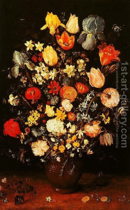 Vase of Flowers with Irises by Jan The Elder Brueghel - Reproduction Oil Painting