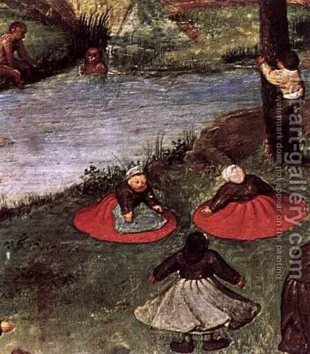 Children's Games (detail) 1559-60 3 by Jan The Elder Brueghel - Reproduction Oil Painting