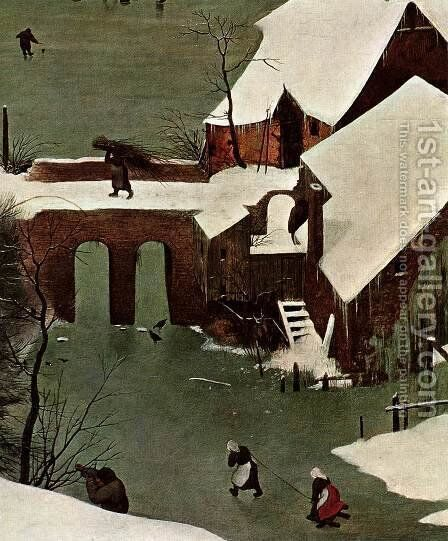 The Hunters in the Snow (detail) 1565 3 by Jan The Elder Brueghel - Reproduction Oil Painting
