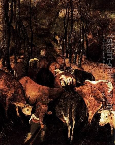 The Return of the Herd (detail) 1565 2 by Jan The Elder Brueghel - Reproduction Oil Painting