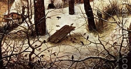 Winter Landscape with Skaters and a Bird Trap (detail) 1565 2 by Jan The Elder Brueghel - Reproduction Oil Painting