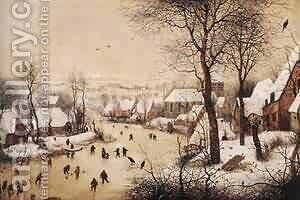 Winter Landscape With Skaters And Bird Trap 1565 by Jan The Elder Brueghel - Reproduction Oil Painting