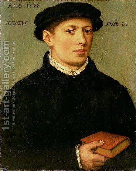 Portrait of a Young Man 1528 by Barthel Bruyn - Reproduction Oil Painting