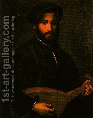 Portrait of a Gentleman with Mandolin by Giulio Campi - Reproduction Oil Painting