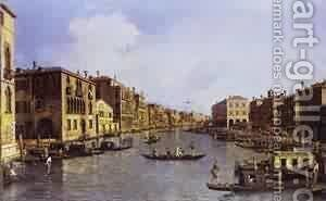 The Grand Canal Looking Down To The Rialto Bridge 1758-63 by (Giovanni Antonio Canal) Canaletto - Reproduction Oil Painting