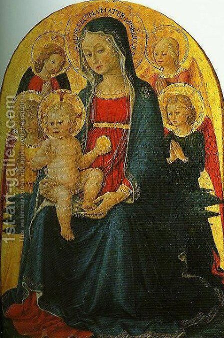 Madonna and Child with Angels by Bartolomeo Caporali - Reproduction Oil Painting