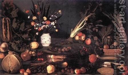 Still Life with Flowers and Fruit 2 by Caravaggio - Reproduction Oil Painting