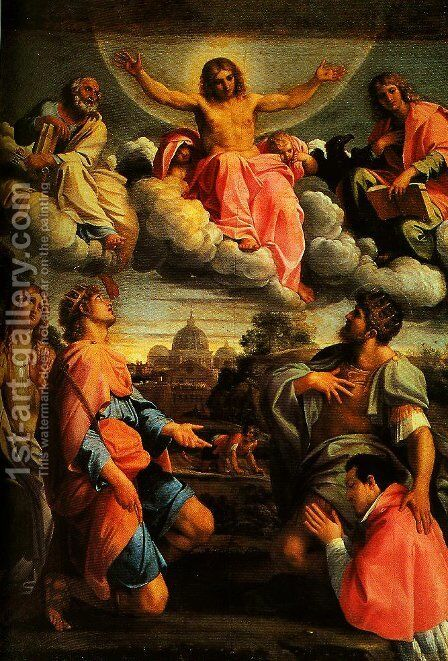Christ in Glory and SS Peter John the Ecangelist Mary Magdalen and Ermengild Martyr with Odardo Farnese by Annibale Carracci - Reproduction Oil Painting