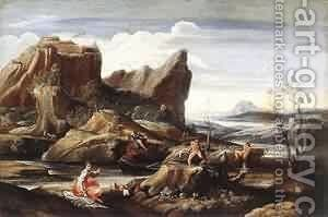 Landscape with Bathers 1616 by Annibale Carracci - Reproduction Oil Painting