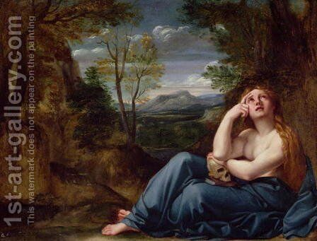 Mary Magdalene in a Landscape 1599 by Annibale Carracci - Reproduction Oil Painting