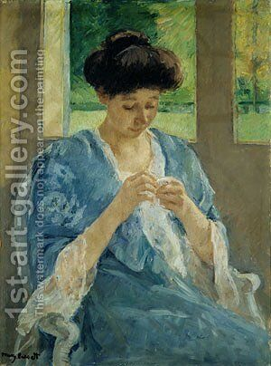 Augusta Sewing Before a Window 1905 by Mary Cassatt - Reproduction Oil Painting