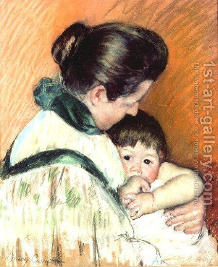Mother and Child 3 by Mary Cassatt - Reproduction Oil Painting
