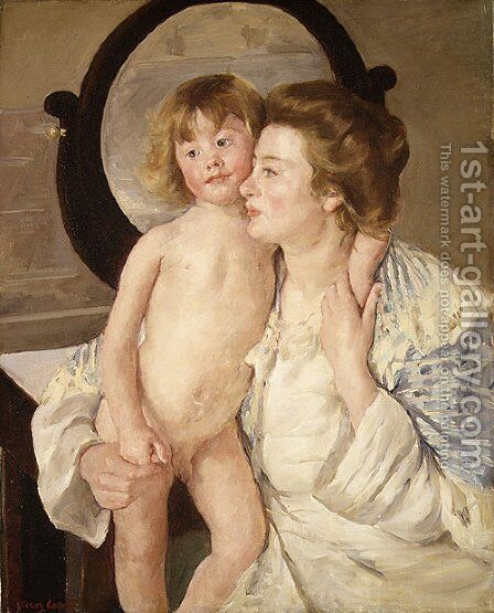 Mother and Child (The Oval Mirror) 1899 by Mary Cassatt - Reproduction Oil Painting