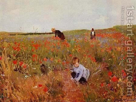 Poppies in a Field 1874-1880 by Mary Cassatt - Reproduction Oil Painting