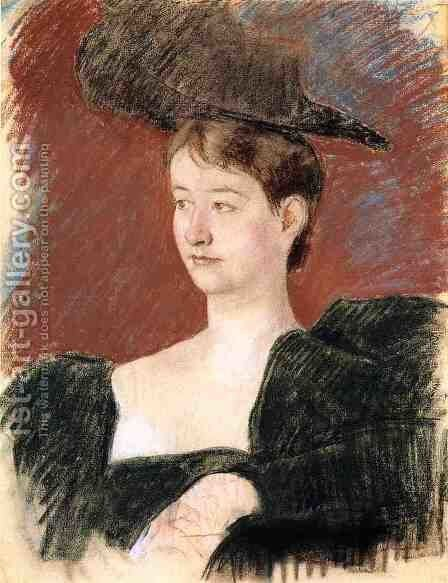 Potrait of a Young Woman in Green 1898 by Mary Cassatt - Reproduction Oil Painting