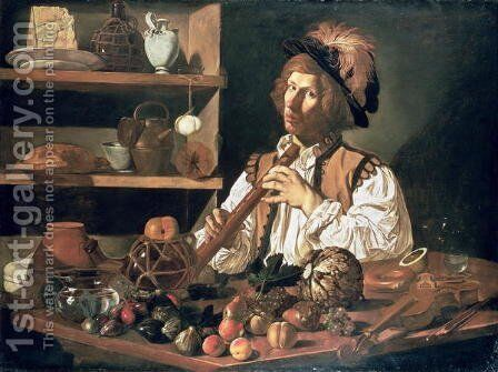 Interior with a Still Life and a Young Man Holding a Recorder by Cecco Del Caravaggio - Reproduction Oil Painting