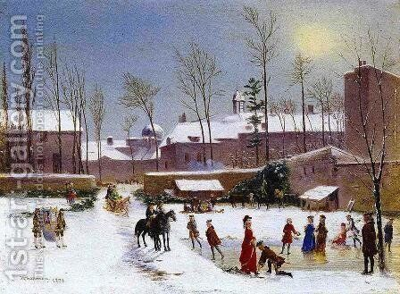 Skating Scene 1876 by Conrad Wise Chapman - Reproduction Oil Painting