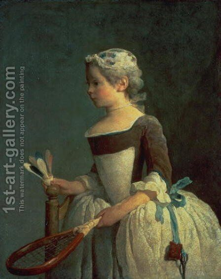 Girl with Racket and Shuttlecock by Jean-Baptiste-Simeon Chardin - Reproduction Oil Painting