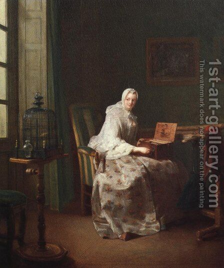 Lady with a Bird Organ 1753 by Jean-Baptiste-Simeon Chardin - Reproduction Oil Painting