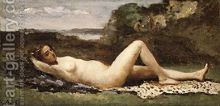 Bacchante in a Landscape 1865 by Jean-Baptiste-Camille Corot - Reproduction Oil Painting