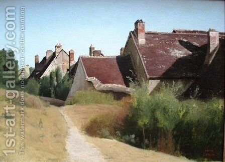 Houses near Orleans by Jean-Baptiste-Camille Corot - Reproduction Oil Painting