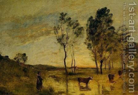 Le Gue (aka Cows on the Banks of the Gue) 1870-1875 by Jean-Baptiste-Camille Corot - Reproduction Oil Painting