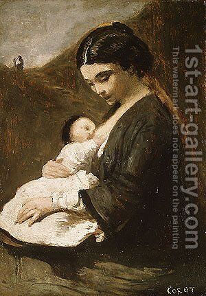 Mother and Child by Jean-Baptiste-Camille Corot - Reproduction Oil Painting