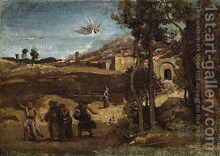 Study for The Destruction of Sodom 1844 by Jean-Baptiste-Camille Corot - Reproduction Oil Painting