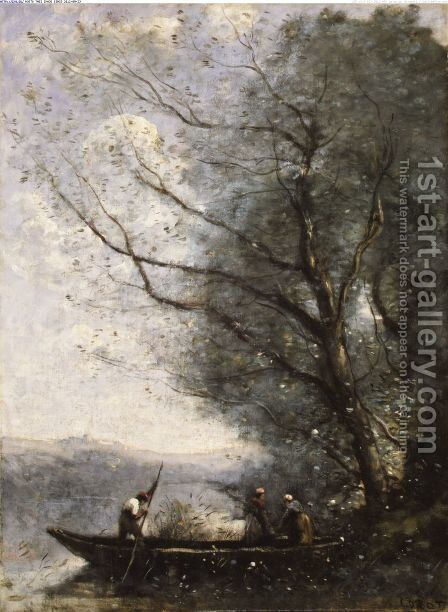 The Ferryman ca 1865 by Jean-Baptiste-Camille Corot - Reproduction Oil Painting