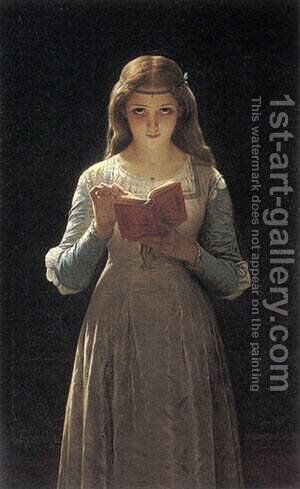 Young Maiden Reading a Book by Pierre Auguste Cot - Reproduction Oil Painting