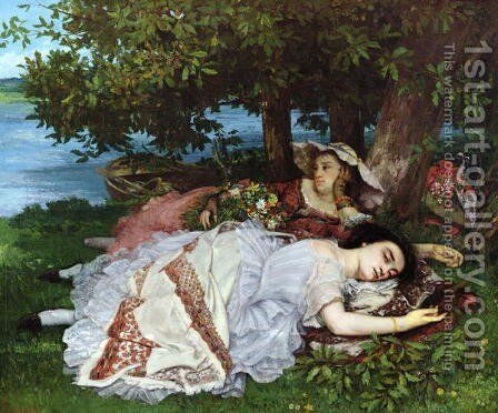 Girls on the Banks of the Seine 1856 57 by Charles Cottet - Reproduction Oil Painting