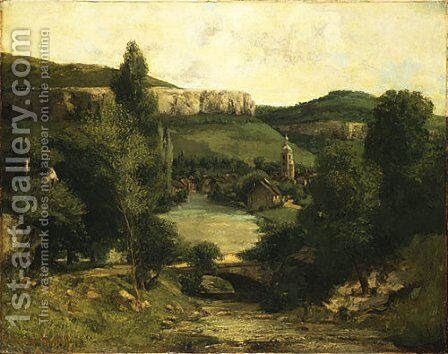 View of Ornans probably mid 1850s by Gustave Courbet - Reproduction Oil Painting