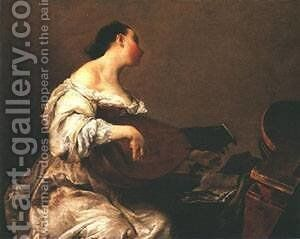Woman Playing A Lute by Giovanni Battista Crespi (Cerano II) - Reproduction Oil Painting